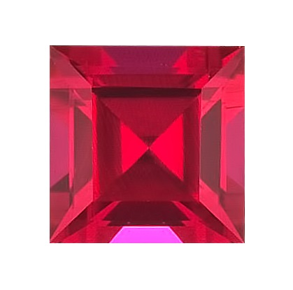 Synthetic Ruby - Corundum Square - red #5 (SQ)
