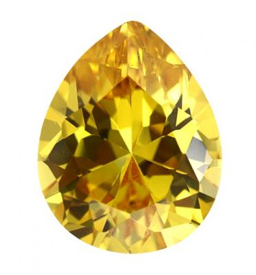 Cubic Zirconia - Pear - Yellow (PS)